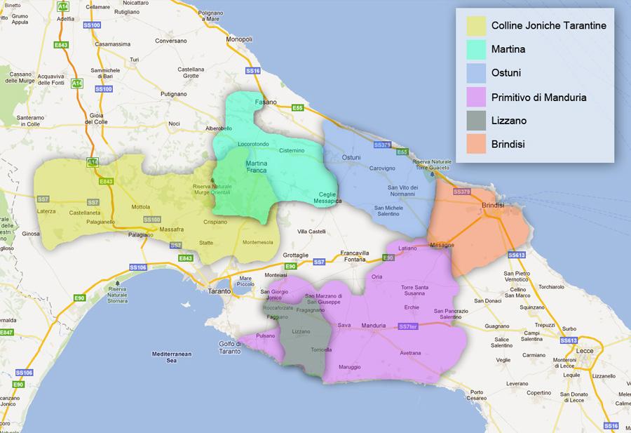 Mappa DOC Taranto e Brindisi